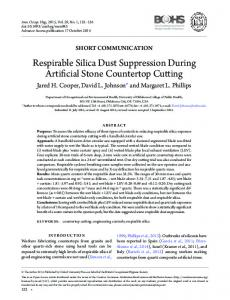 Respirable Silica Dust Suppression During Artificial ... - CDC Stacks