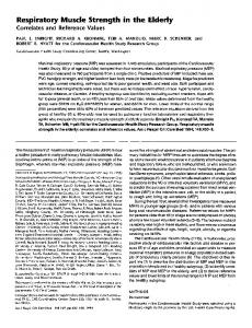 Respiratory muscle strength in the elderly. Correlates ... - ATS Journals