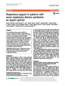 Respiratory support in patients with acute respiratory distress syndrome