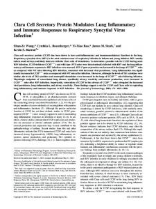 Respiratory Syncytial Virus Infection Inflammatory and Immune ...