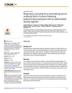 Respiratory syncytial virus-neutralizing serum antibody titers in ... - PLOS