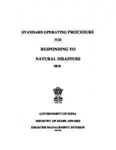 responding to natural disasters - National Disaster Management