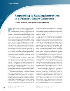 Responding to Reading Instruction in a Primary ...