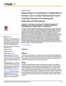 Responding to Young People's Health Risks in Primary Care: A ...