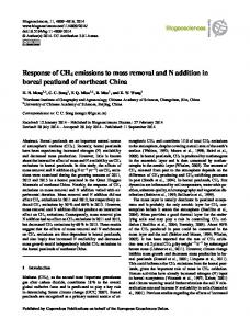 Response of CH4 emissions to moss removal and N ... - Biogeosciences