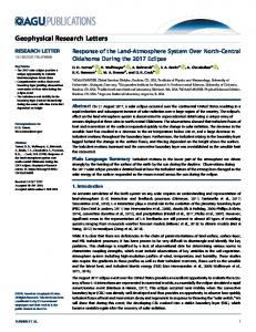 Response of the Land-Atmosphere System Over ... - Wiley Online Library