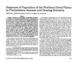 Response of Vegetation of the Northern Great Plains to Precipitation