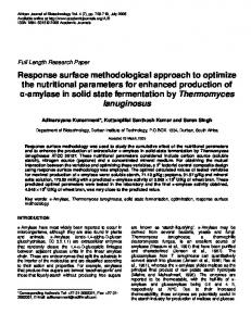 Response surface methodological approach to optimize ... - CiteSeerX