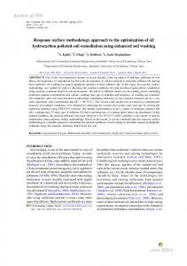 response surface methodology approach to the ... - CiteSeerX