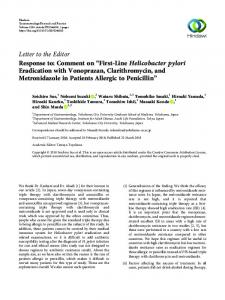 "Response to: Comment on ""First-Line Helicobacter pylori Eradication ..."