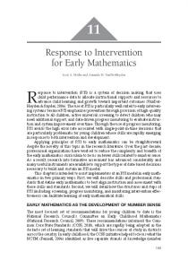Response to Intervention for Early Mathematics