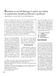 Response to steroid therapy in autism secondary to autoimmune ...