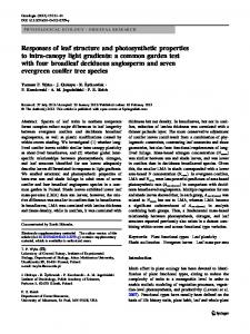 Responses of leaf structure and photosynthetic properties to intra ...