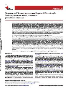 Responses of Norway spruce seedlings to different ...