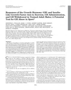 Responses of the Growth Hormone (GH) and Insulin-Like Growth ...
