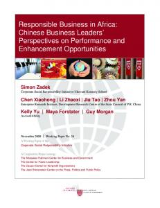 Responsible Business in Africa: Chinese Business Leaders ...