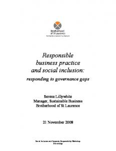 Responsible business practice and social inclusion - BSL