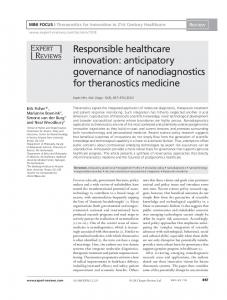 Responsible healthcare innovation: anticipatory governance of ...