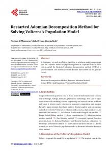 Restarted Adomian Decomposition Method for