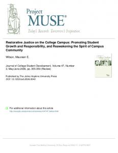 Restorative Justice on the College Campus - University of San Diego
