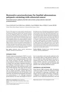 Restorative proctocolectomy for familial adenomatous polyposis ...