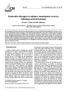 Restorative therapies to enhance sensorimotor recovery following ...