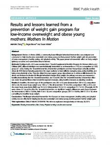 Results and lessons learned from a prevention of ... - Springer Link