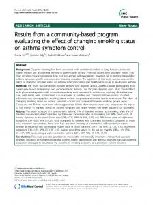 Results from a community-based program evaluating ... - BioMedSearch