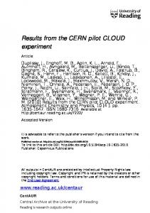 Results from the CERN pilot CLOUD experiment