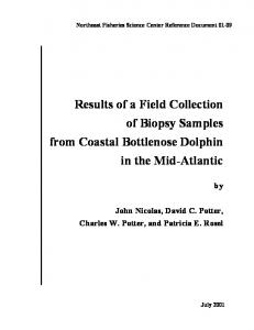 Results of a field collection of biopsy samples from coastal ...