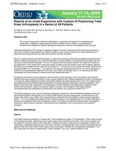 Results of an Initial Experience with Custom-fit Positioning ... - CiteSeerX