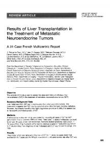 Results of Liver Transplantation in the Treatment of Metastatic - NCBI