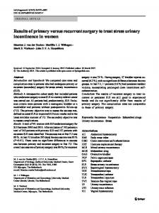 Results of primary versus recurrent surgery to treat stress urinary ...