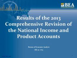 Results of the 2013 Comprehensive Revision of the National Income ...