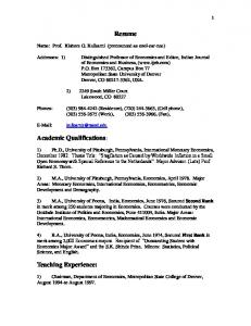 Resume Academic Qualifications: Teaching Experience: