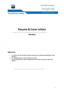 Resume & Cover Letters - QUT