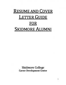 RESUME AND COVER LETTER GUIDE FOR SKIDMORE ALUMNI