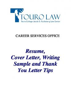 Resume, Cover Letter, Writing Sample and Thank You Letter Tips