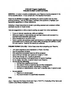 RESUME FORMAT & INSTRUCTIONS