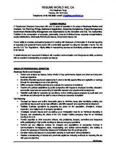 Resume Sample Financ.. - A Resume World Inc.