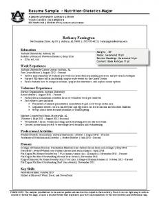 Resume Sample - Nutrition-Dietetics Major