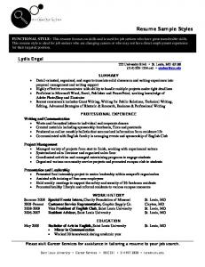 Resume Sample Styles