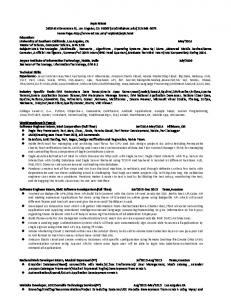 Resume - University of Southern California