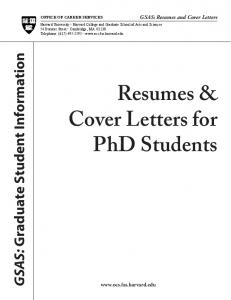 Resumes & Cover Letters for PhD Students