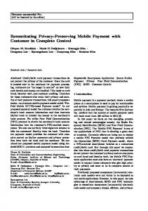 Resuscitating Privacy-Preserving Mobile Payment ... - Semantic Scholar