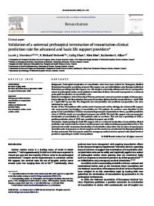 Resuscitation Validation of a universal prehospital ... - CiteSeerX