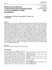 Resveratrol ameliorates methotrexate-induced ... - SAGE Journals