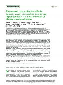 Resveratrol has protective effects against airway remodeling and ...