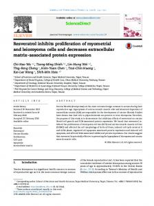 Resveratrol inhibits proliferation of myometrial and