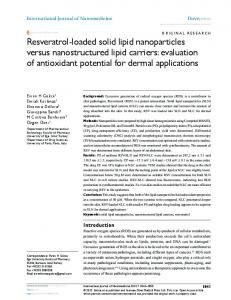 Resveratrol-loaded solid lipid nanoparticles versus ... - CiteSeerX